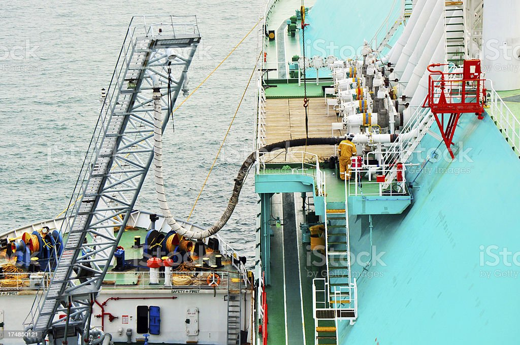 LNG bunkering heavy fuel oil stock photo