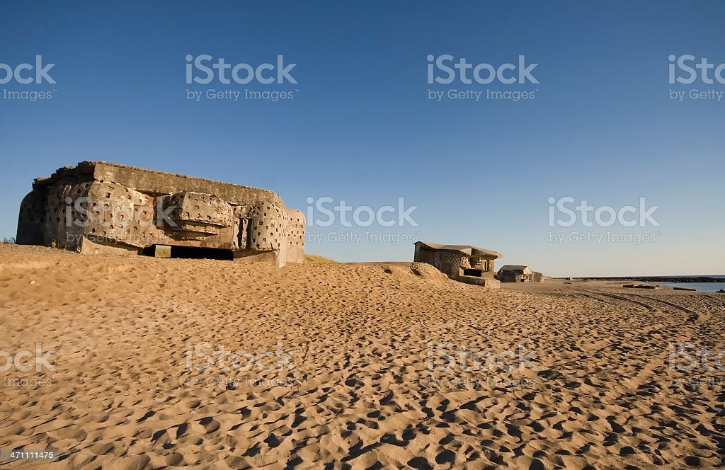 Bunkers in the sunset stock photo