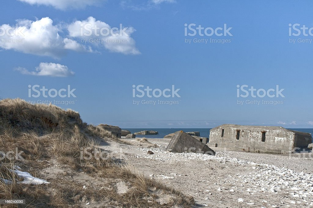 Bunkers on the Beach royalty-free stock photo