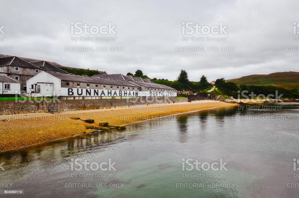 Bunnahabhain distillery factory from the sea, Islay, United Kingdom stock photo