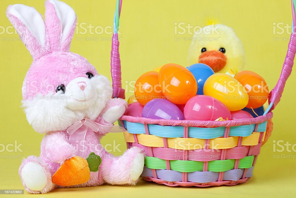 Bunny and Chick with Easter Basket stock photo