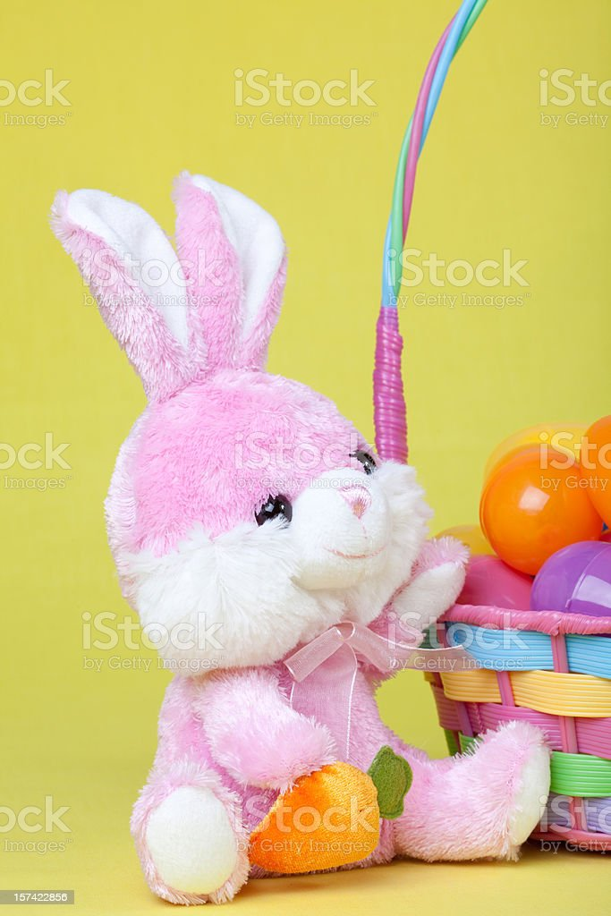 Bunny and Easter Basket stock photo