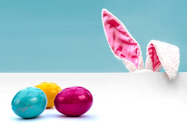 bunny ears and easter eggs - easter bunny stock photos and pictures