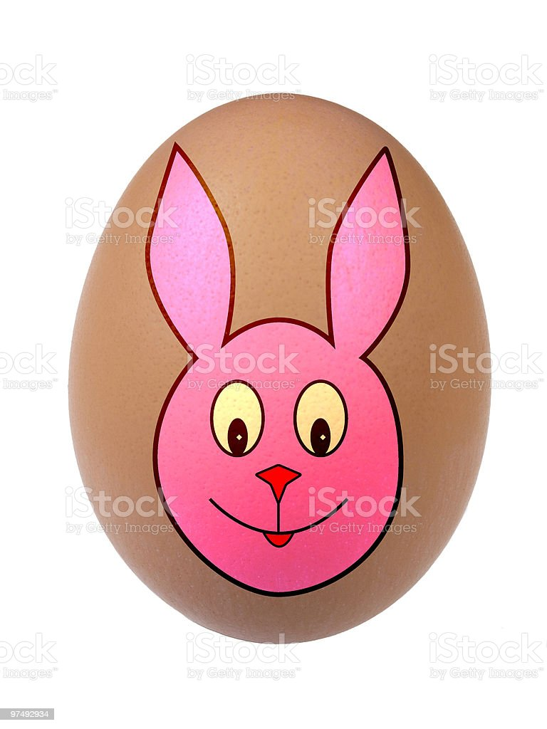 Bunny Face on Easter Egg royalty-free stock photo