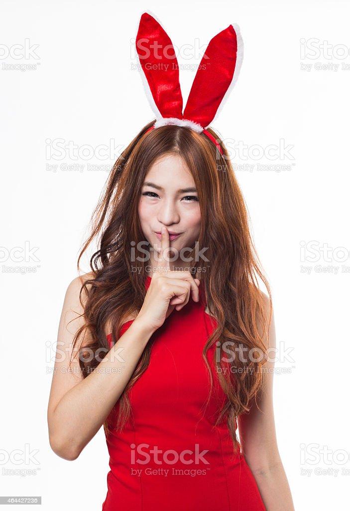 Bunny Girl Hush stock photo
