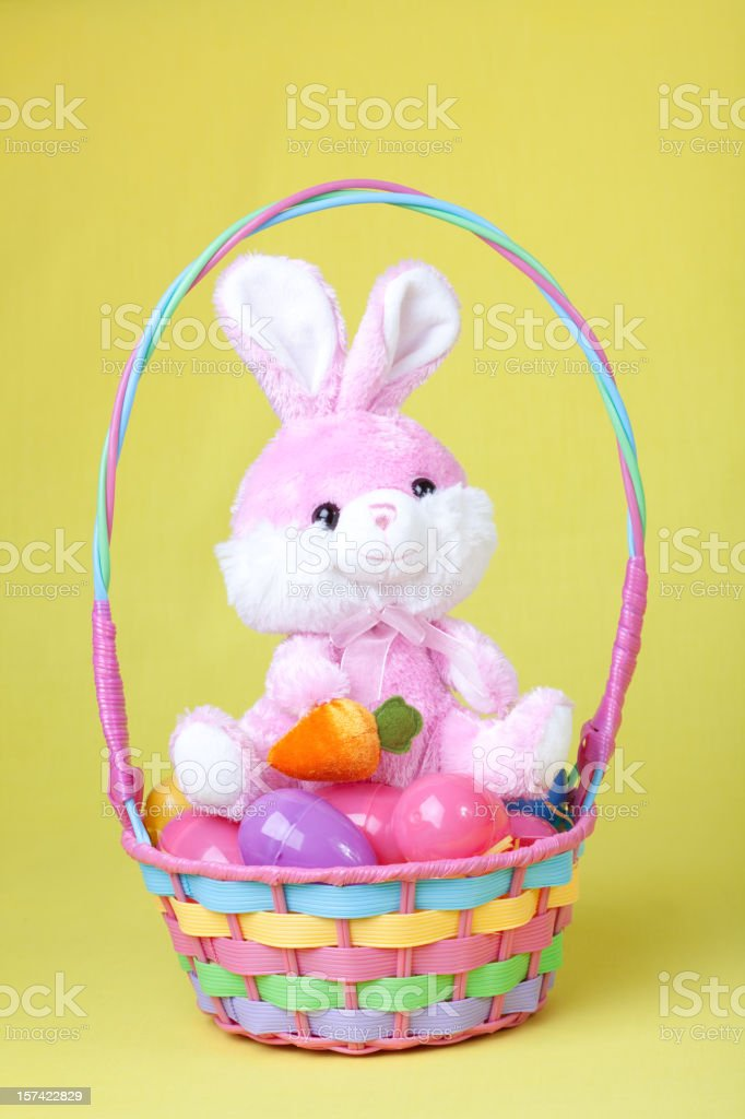 Bunny in Easter basket stock photo