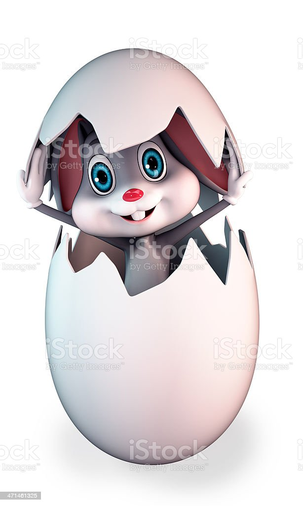 bunny is comming out of the egg royalty-free stock photo