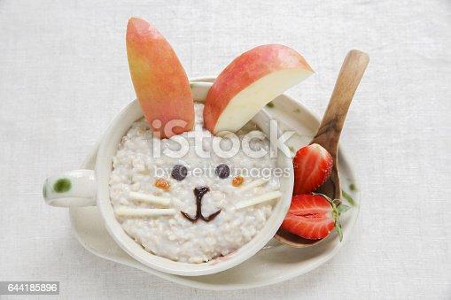 istock Bunny rabbit porridge oatmeal breakfast , food art for kids 644185896