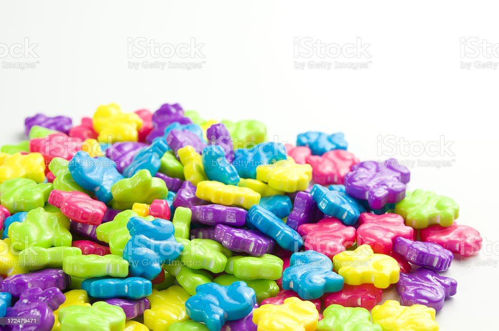 bunny shaped candy pieces stock photo