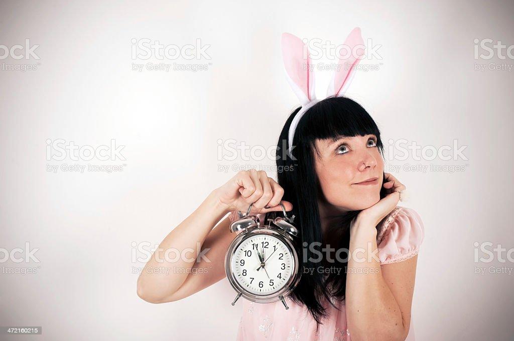 Bunny with Alarm Clock stock photo
