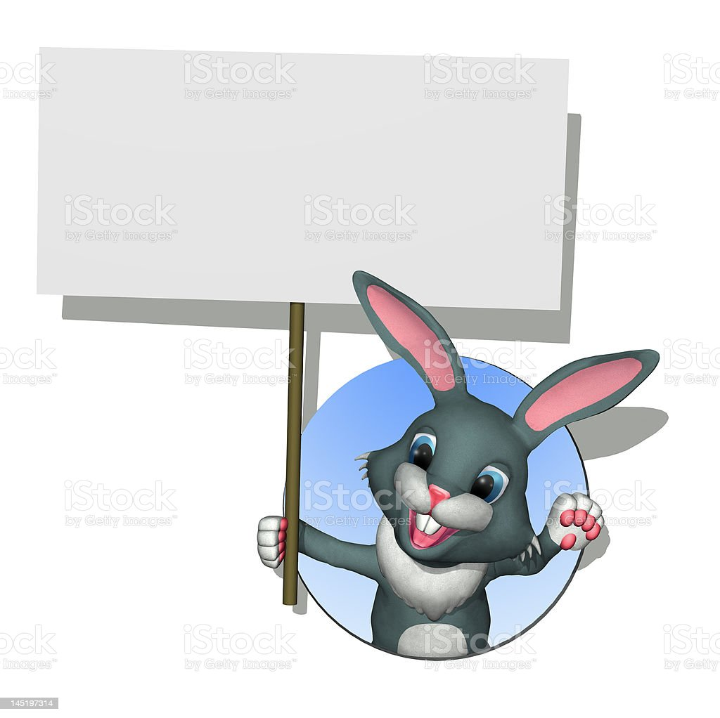 Bunny with Blank Sign royalty-free stock photo