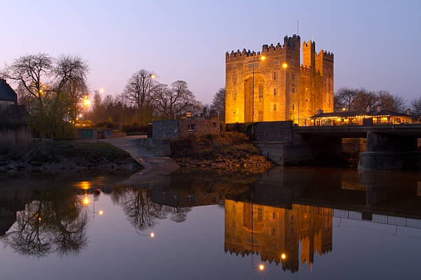 bunratty castle at dusk - county clare stock pictures, royalty-free photos & images