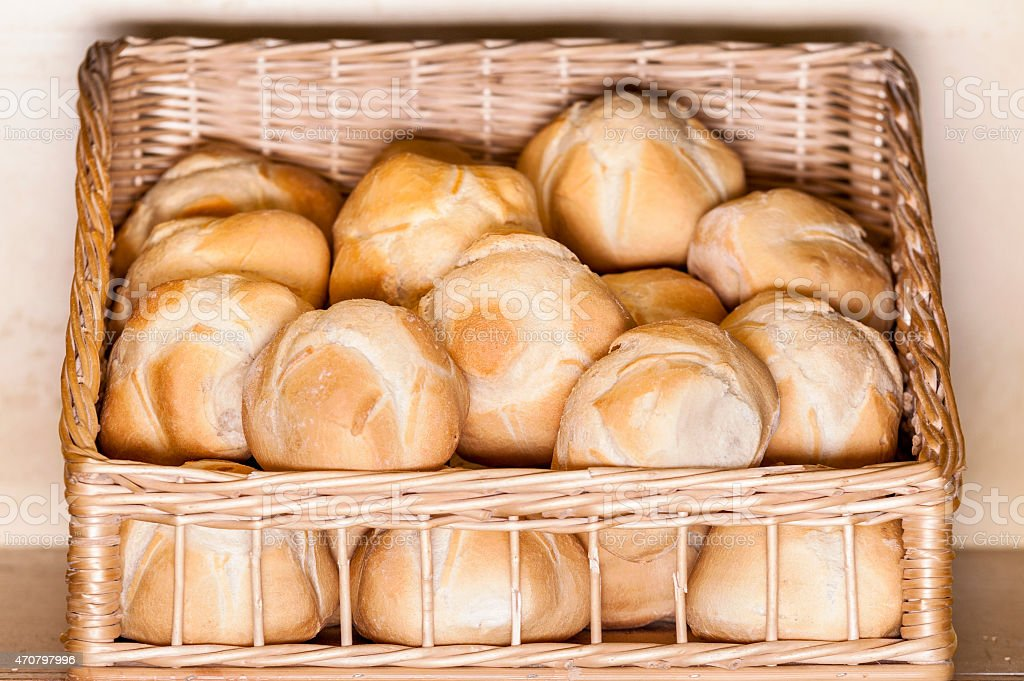 Buns in a basket stock photo