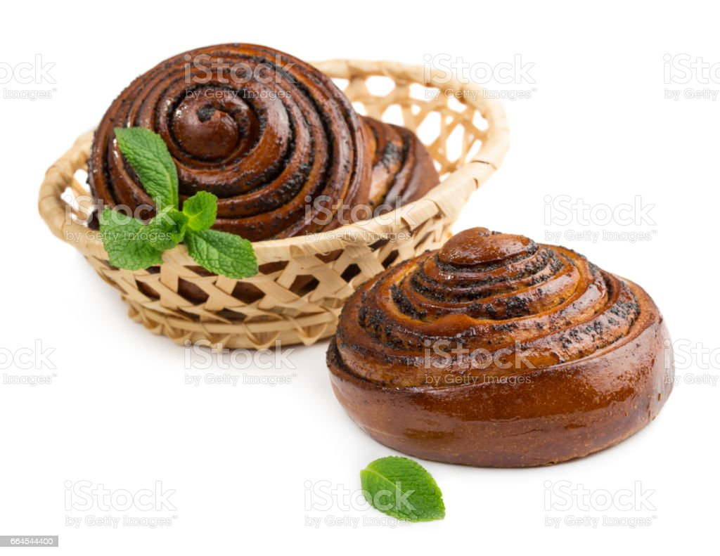 Buns with mint leaves royalty-free stock photo