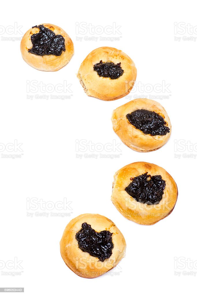 Buns with Prune Topping Isolated on White royalty-free stock photo