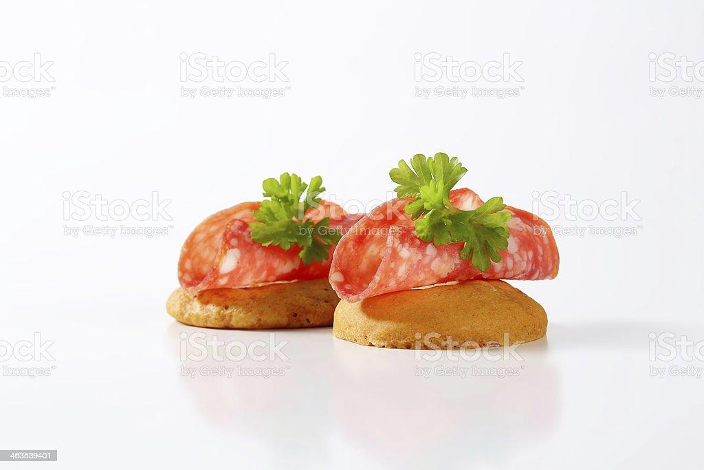 buns with salami royalty-free stock photo