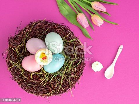 Speise, Ei, Ostern, Frühling, Blumen, Löffel, Textfreiraum, Draufsicht