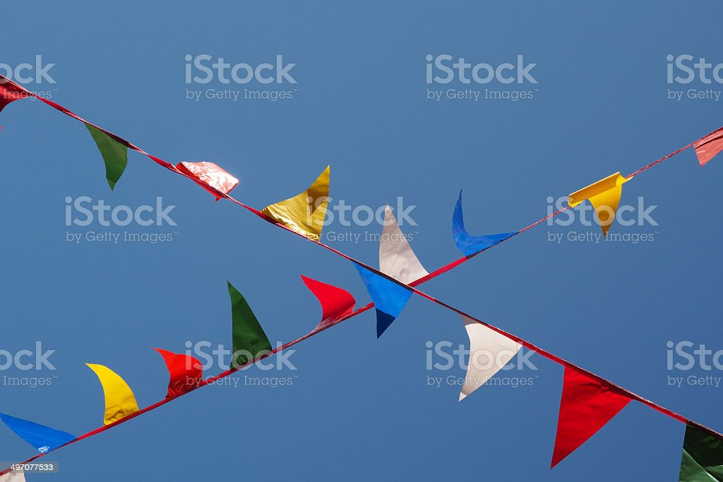 Bunting against blue sky royalty-free stock photo