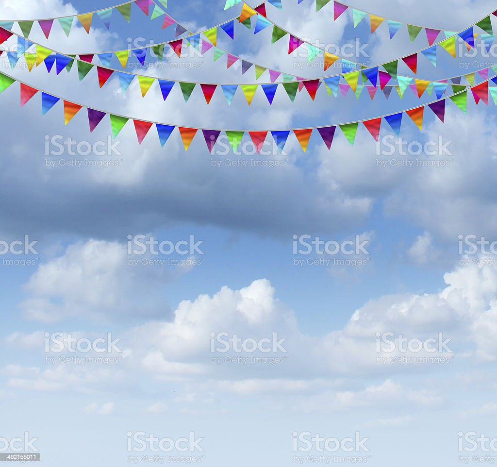 Bunting Flags On A sky stock photo