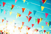Bunting Flags on the blue sky background