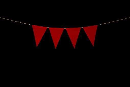 String with bunting four red triangles. Add your own characters for title or banner.