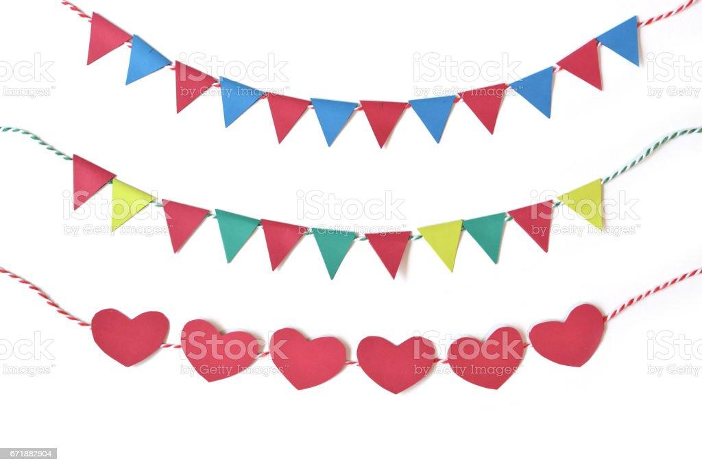 Banderines de papel de cortan en fondo blanco - aislado - foto de stock