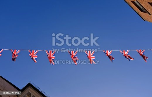 Windsor, England - September 29, 2018: as the wedding of Princess Eugenie draws close, bunting is ready in a street near Windsor Castle to celebrate the event.