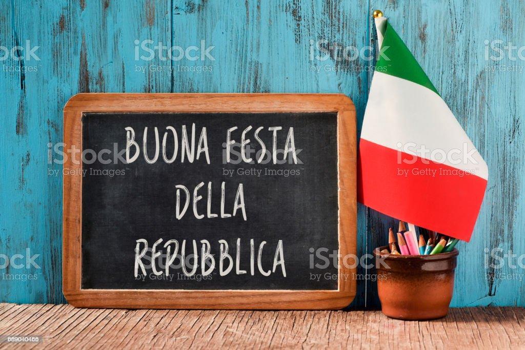 buonna festa della repubblica, happy republic day in italian stock photo