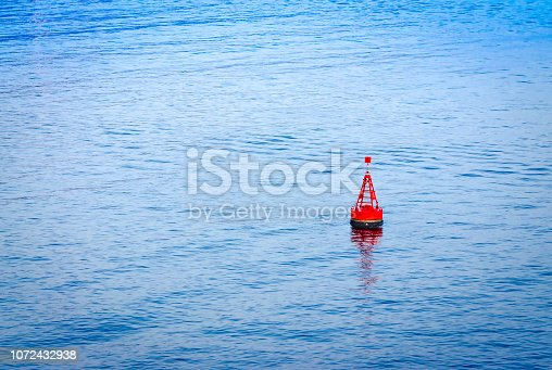 Marine buoy in the sea to warn the ships