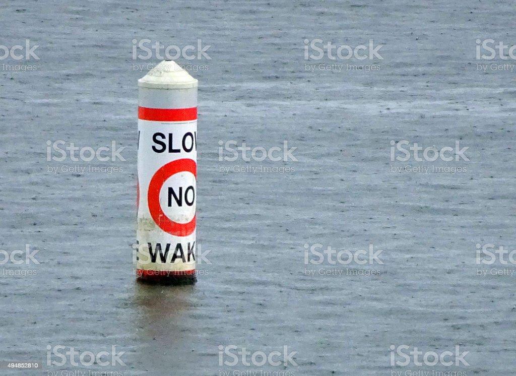Buoy No Wake stock photo