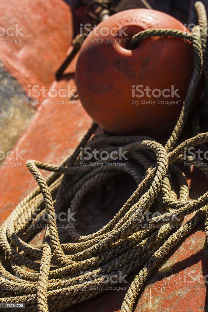 Buoy on Old Fishing Ship royalty-free stock photo