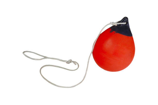 buoy, red + clipping path studio shot, white background buoy stock pictures, royalty-free photos & images