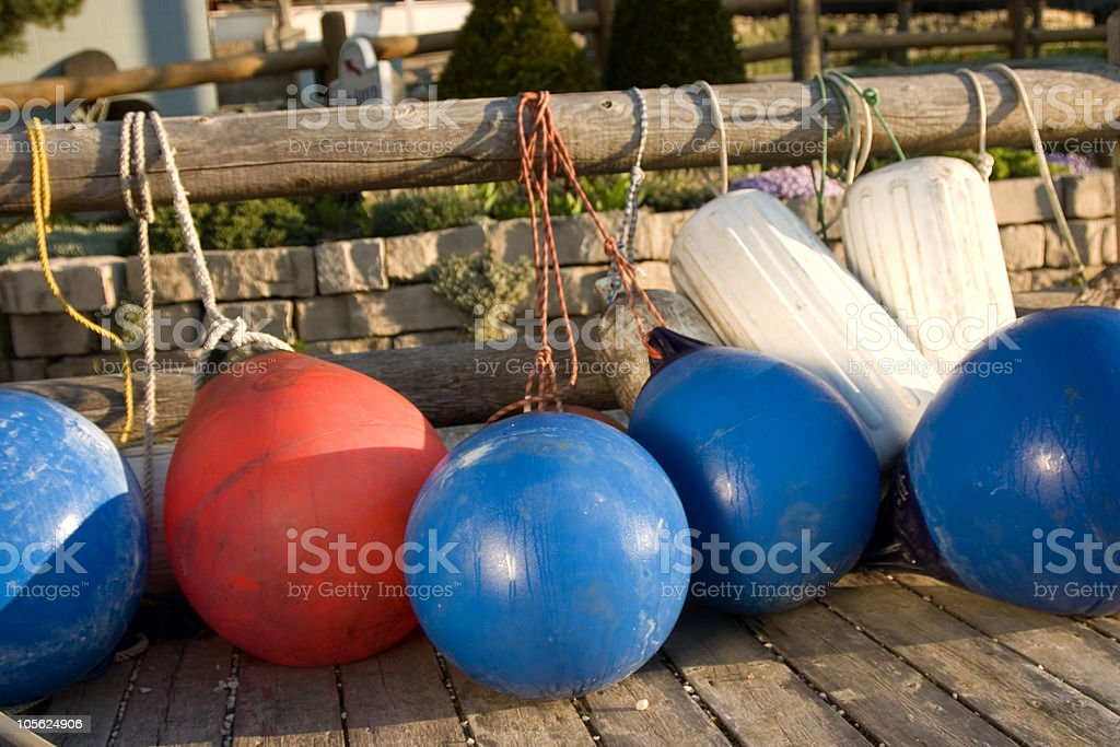 Buoy tied on dock. stock photo