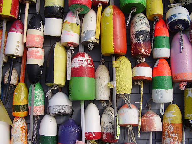 Buoys on Beach Shack Taken at Provincetown, Cape Cod, Massachusetts provincetown stock pictures, royalty-free photos & images