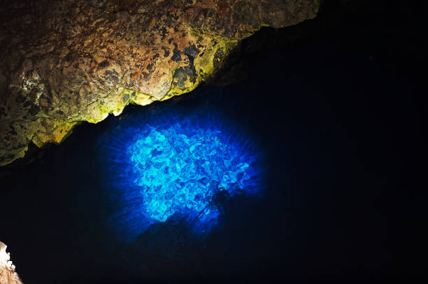 Buracona, The Blue Eye is an underwater cage turning blue and turquoise by the sunlight. Sal, Cape Verde stock photo