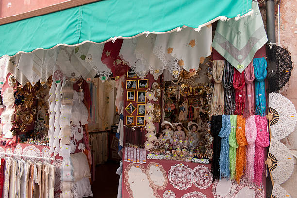 Burano Island Lace Shop stock photo
