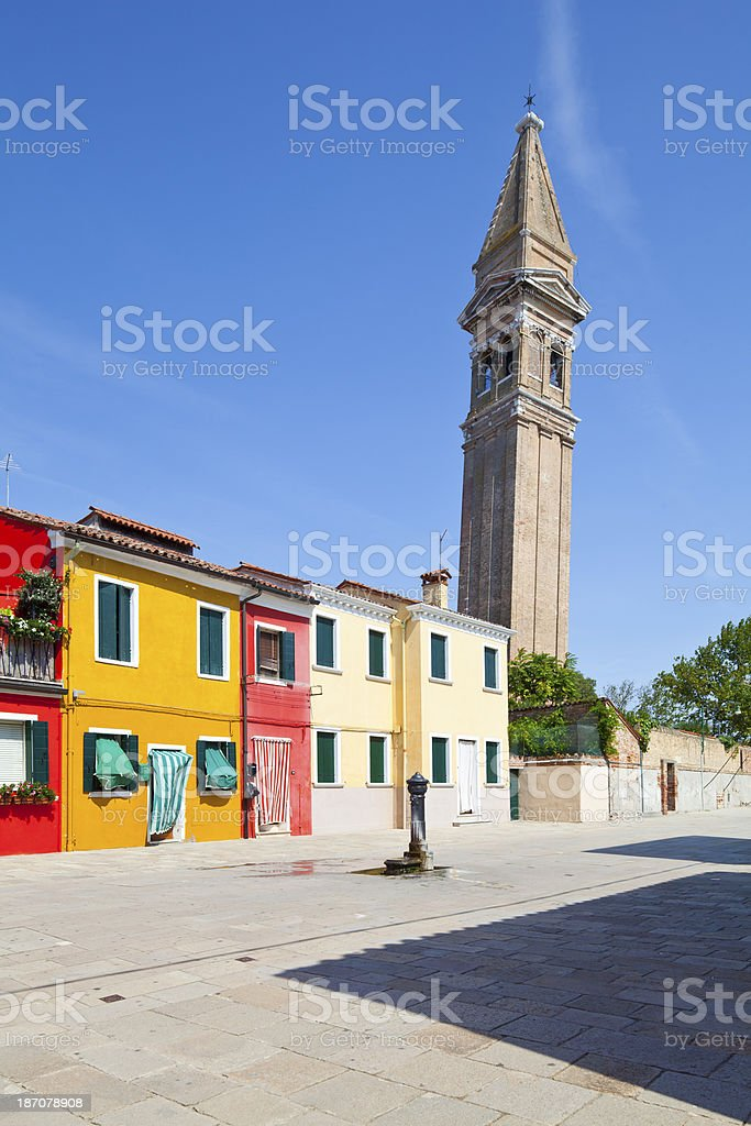 Burano, old Bell Tower royalty-free stock photo