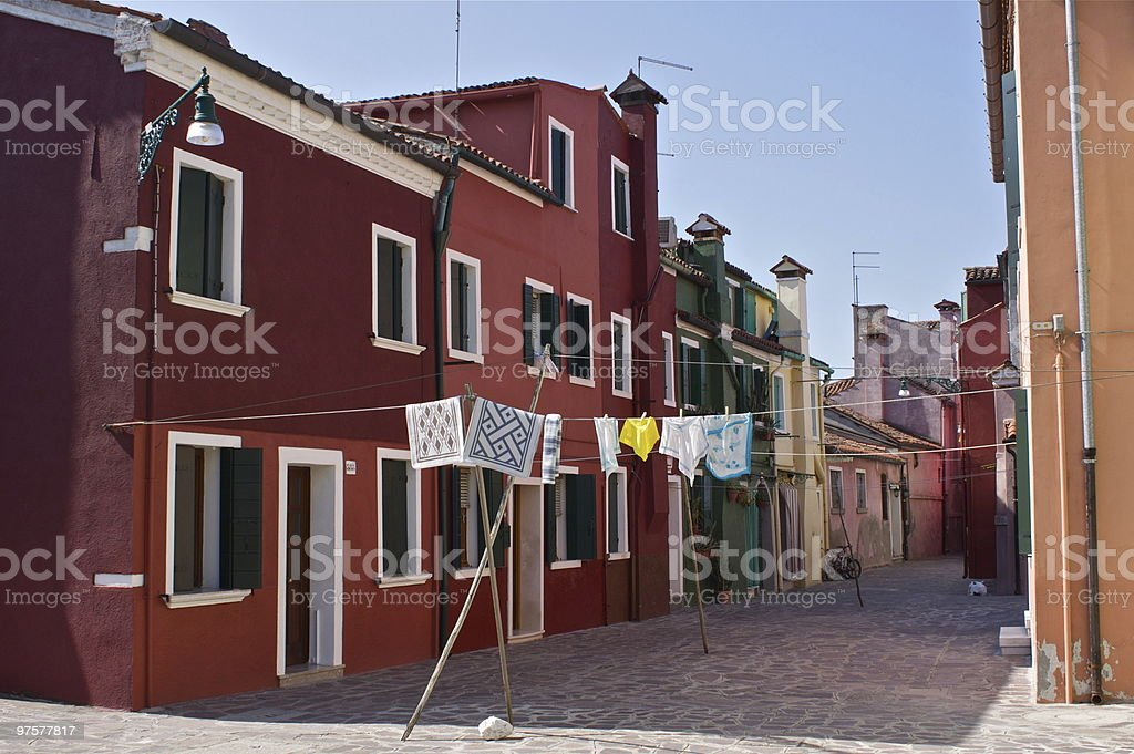 Burano red houses royalty-free stock photo