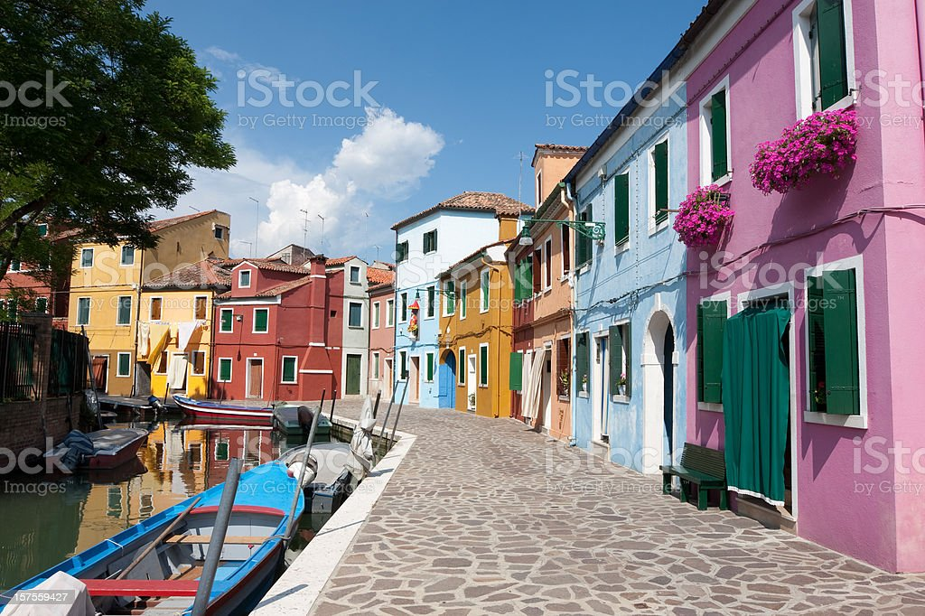 Burano Street  Architecture Stock Photo
