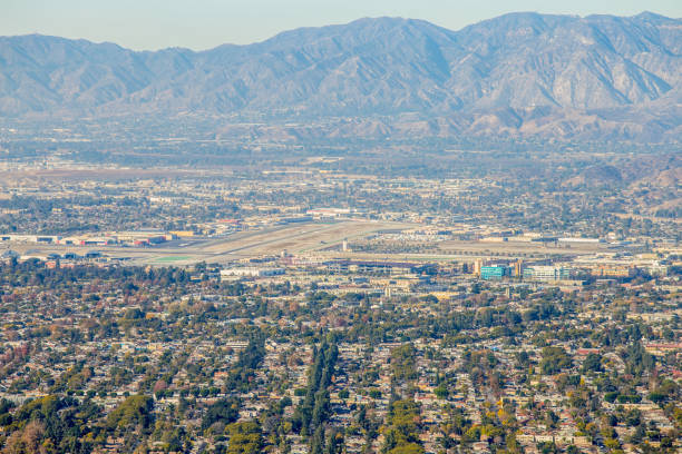 burbank airport from mountain - san fernando valley stock photos and pictures