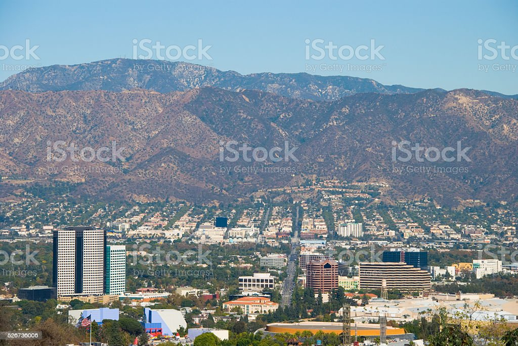 Burbank, CA skyline in the San Fernando Valley stock photo