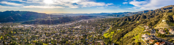burbank glendale los angeles north highlands hollywood valley aerial - san fernando valley stock photos and pictures
