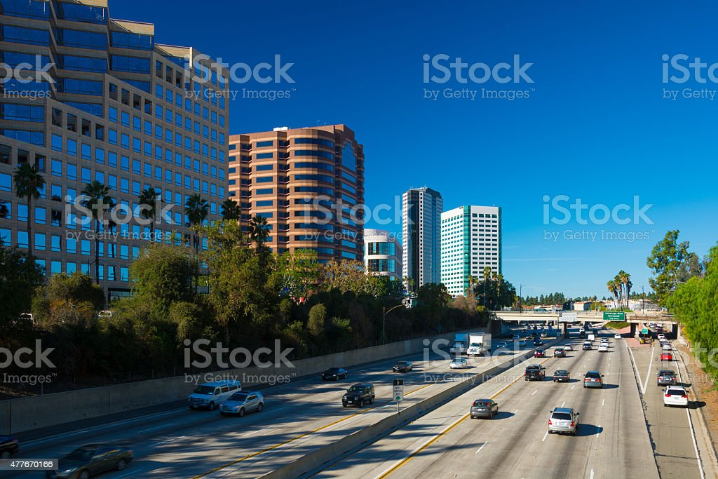 Burbank Media District and freeway stock photo