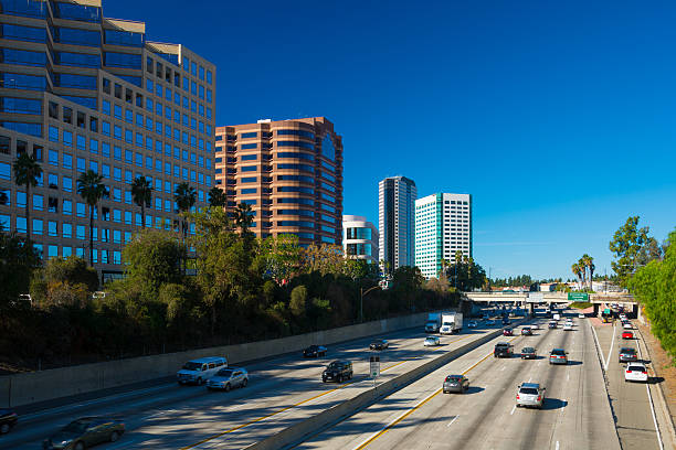 burbank media district and freeway - san fernando valley stock photos and pictures