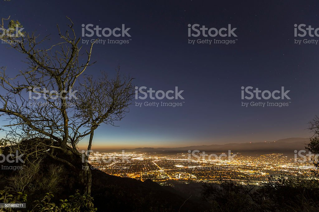 Burbank Night Mountain View stock photo