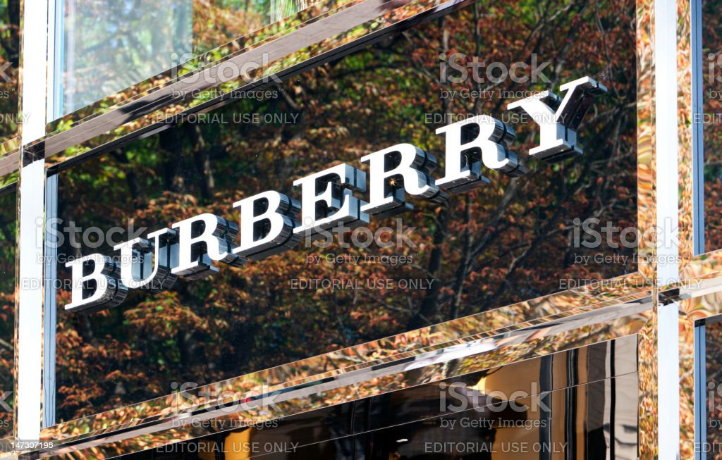Burberry logo at store entrance stock photo