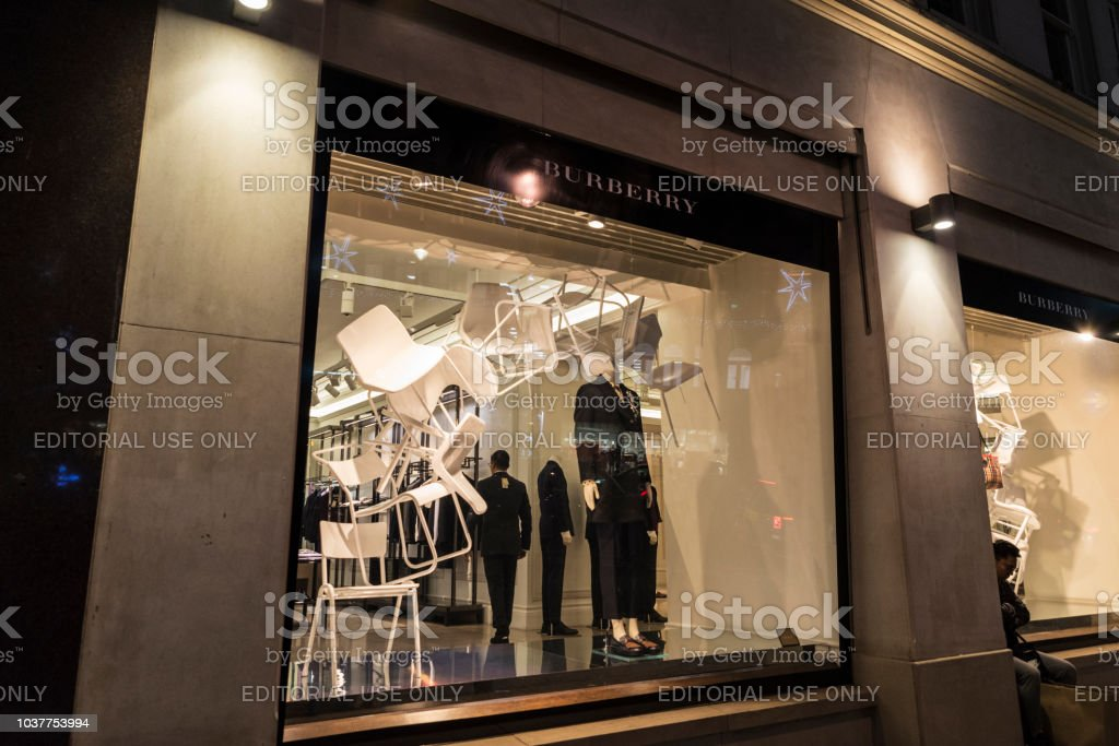 separation shoes f7d2b 40739 Burberry Shop At Night In London England United Kingdom ...