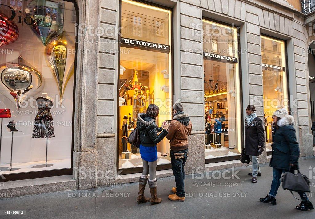 Burberry Store on Via Monte Napoleone, Milan stock photo
