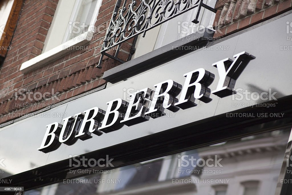Burberry store sign in Amsterdam stock photo