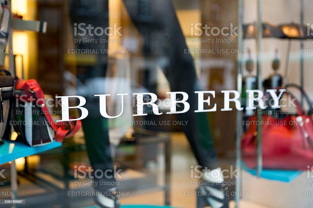 Burberry window display in Paris, France stock photo